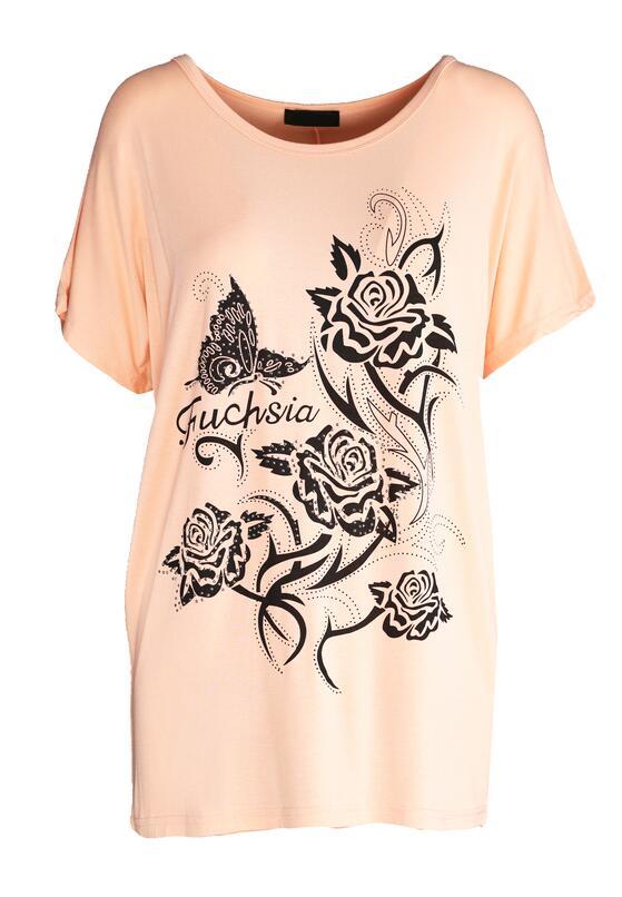 Łososiowy T-shirt Addicted To Fashion