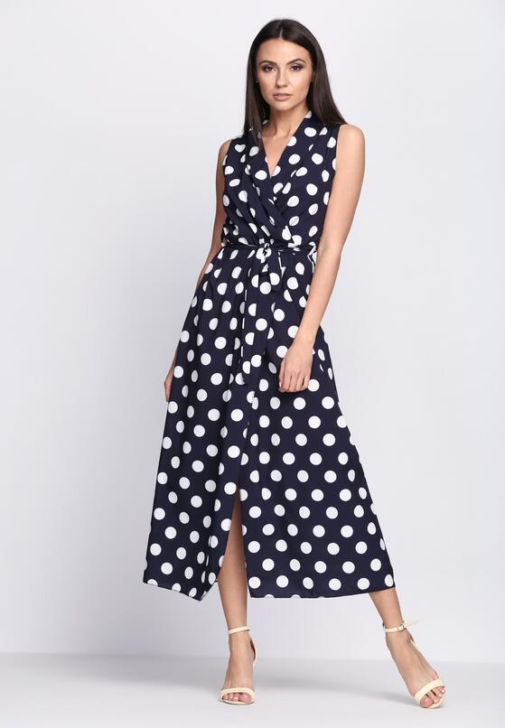 Granatowa Sukienka Collier