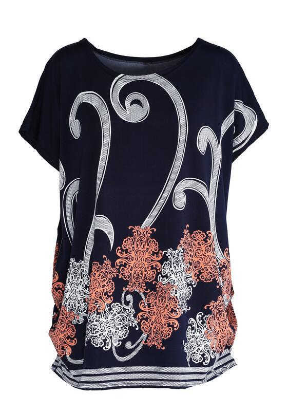Granatowo-Różowy T-shirt Elder