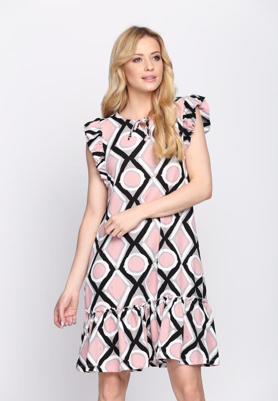 Czarno-Różowa Sukienka Tarragon