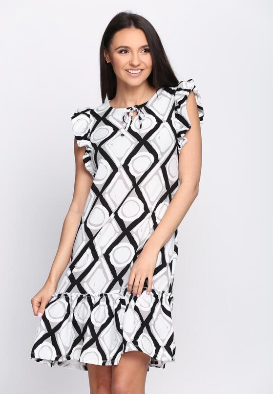Czarno-Biała Sukienka Tarragon