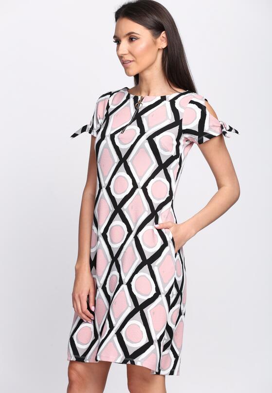 Czarno-Różowa Sukienka Chicory