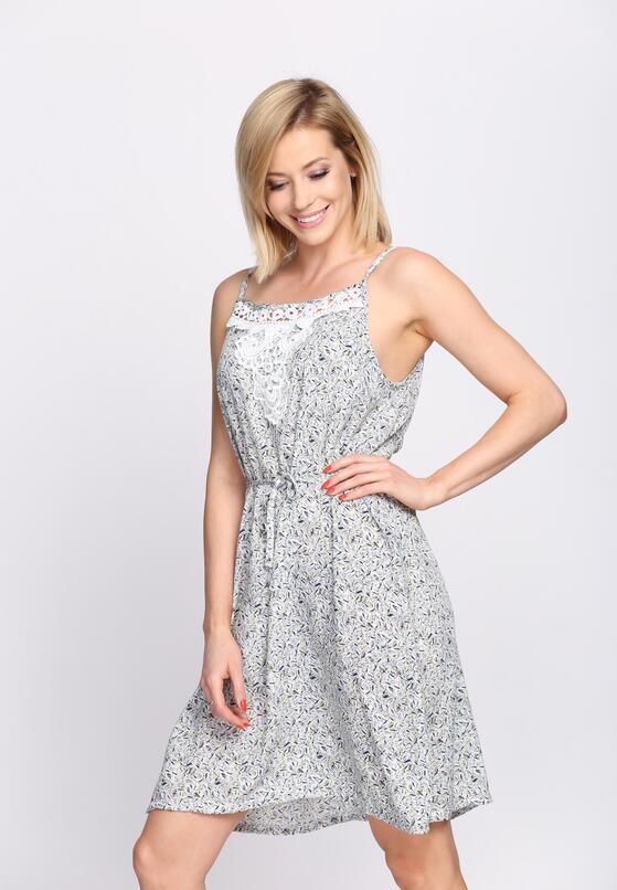 Biało-Zielona Sukienka Peonies