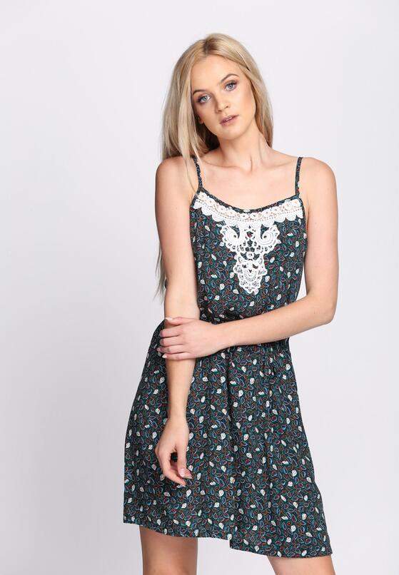 Granatowo-Zielona Sukienka Peonies