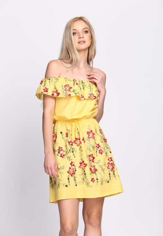 Żółta Sukienka Maxi Floral