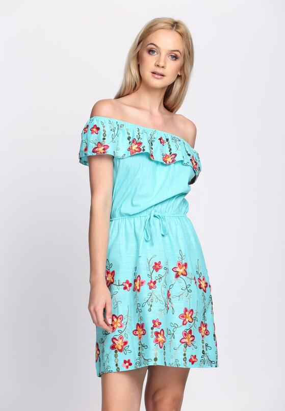 Miętowa Sukienka Maxi Floral