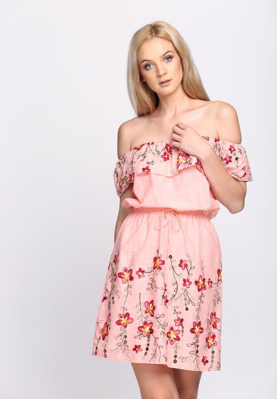 Różowa Sukienka Maxi Floral