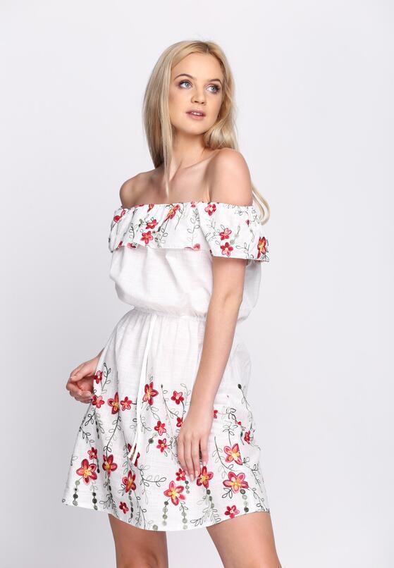 Biała Sukienka Maxi Floral