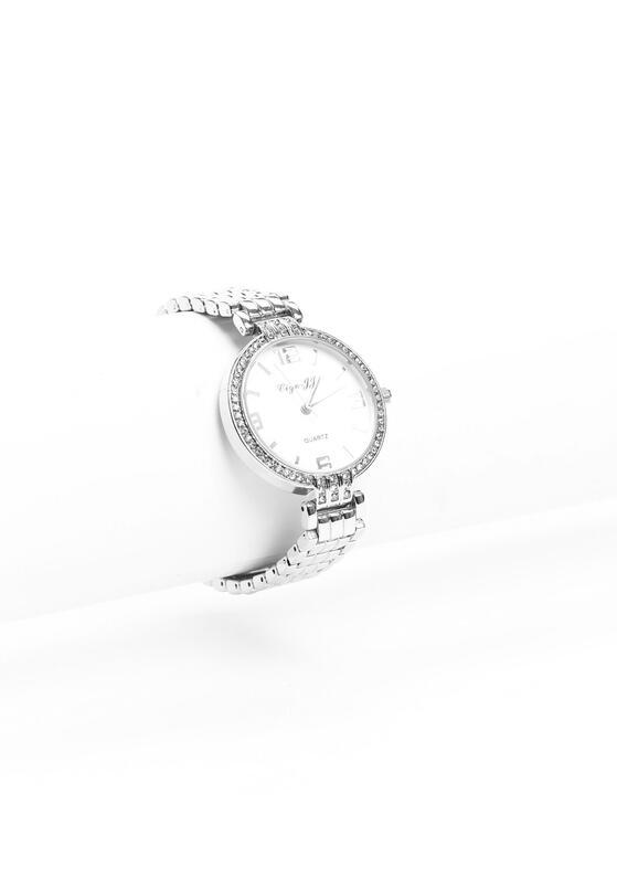 Biało-Srebrny Zegarek Simple Style