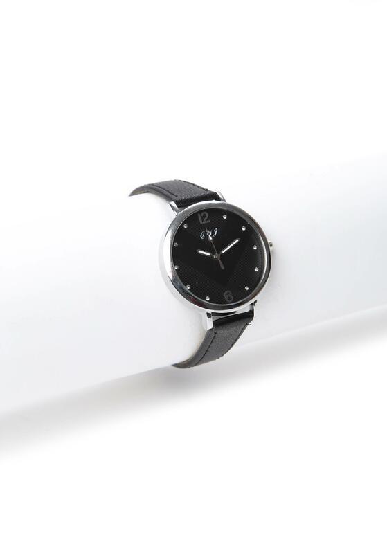 Czarno-Srebrny Zegarek Good Mood
