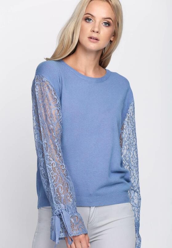 Niebieski Sweter Waste Away