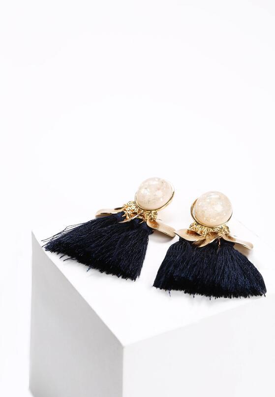 Granatowe Kolczyki Like Pearls