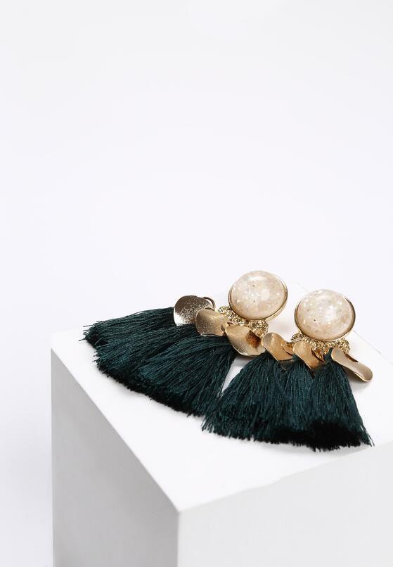 Ciemnozielone Kolczyki Like Pearls