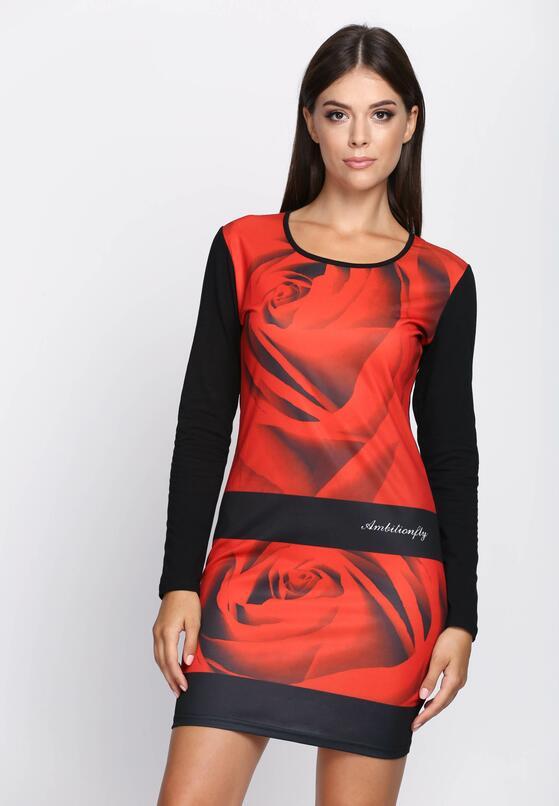 Czerwona Sukienka Black Flower