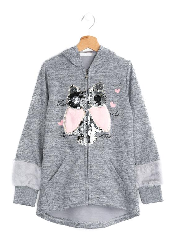 Szara Bluza Pink Owl
