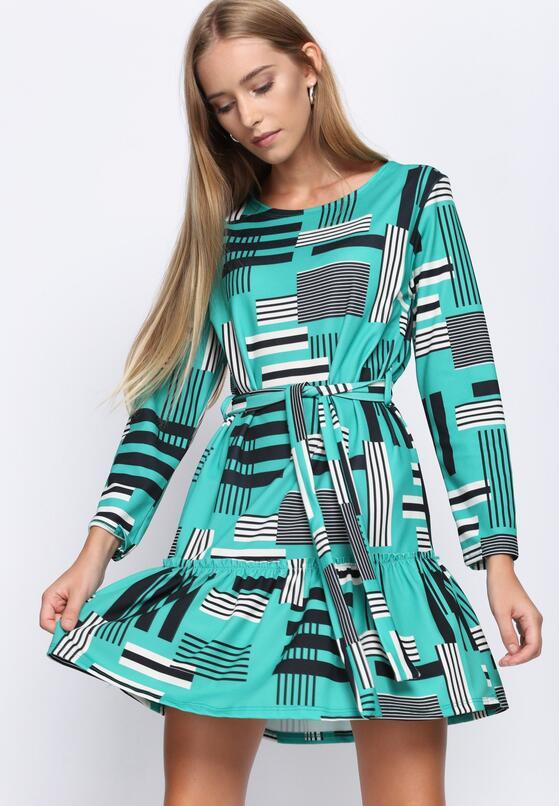 Czarno-Zielona Sukienka Azorella