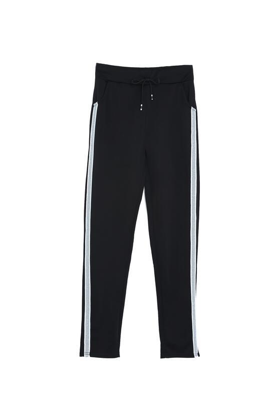 Czarno-Białe Spodnie Dresowe Patience