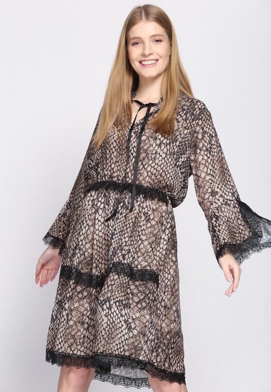 Ciemnobeżowa Sukienka Animal Rights