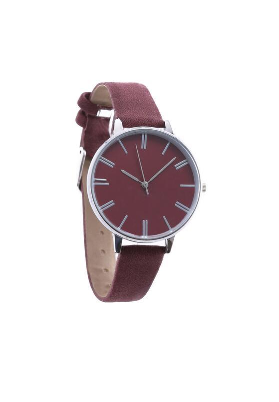 Bordowy Zegarek Plain