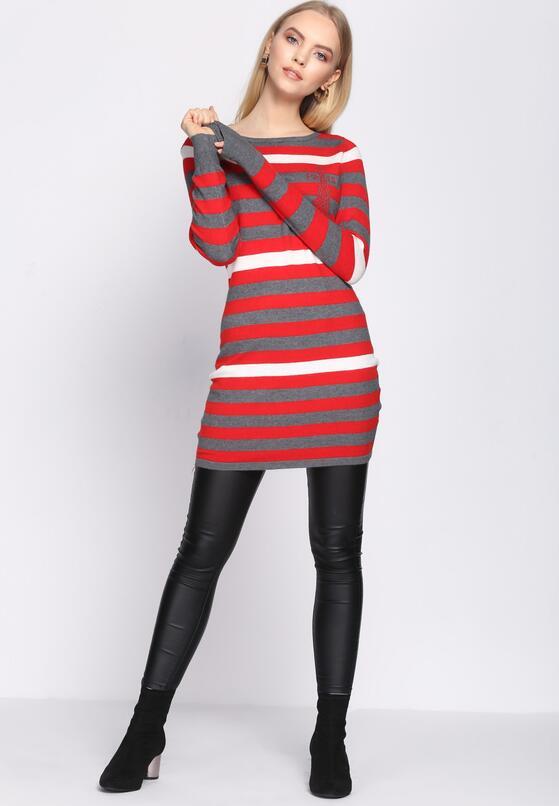 Szaro-Czerwona Sukienka All For You