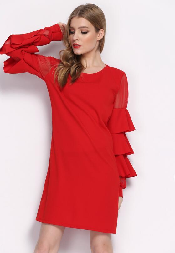 Czerwona Sukienka Almond