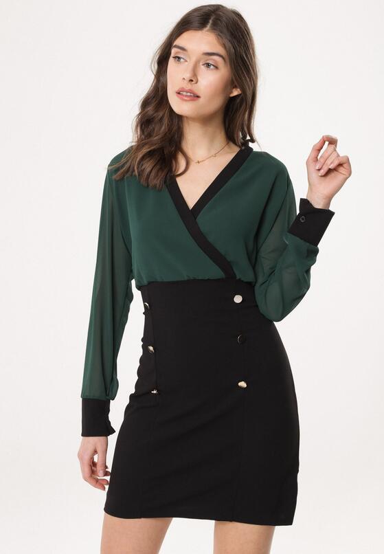 Zielono-Czarna Sukienka Preeminent
