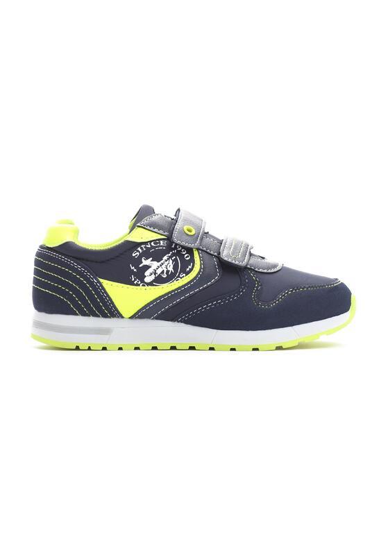 Granatowo-Limonkowe Buty Sportowe Steps