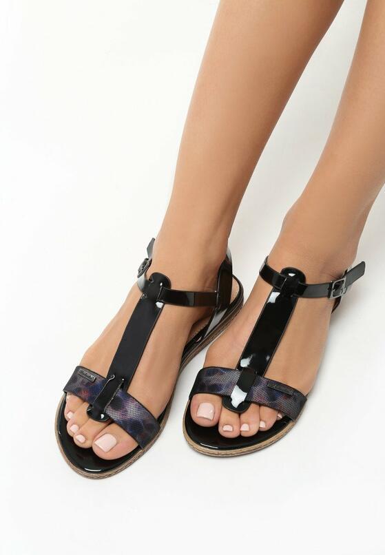 Czarne Sandały Polichroma