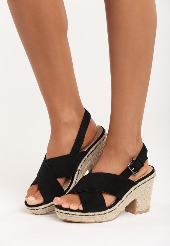 Czarne Sandały Madame