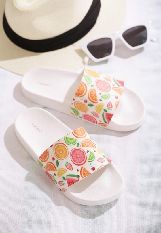 Białe Klapki Tutti Frutti