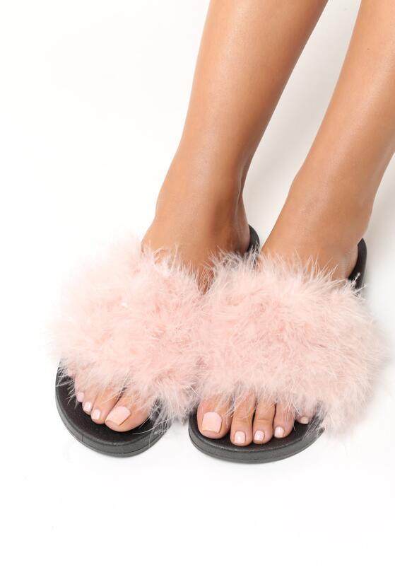 Różowo-Czarne Klapki Plushie