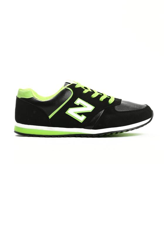 Czarno-Limonkowe Buty Sportowe Schematics