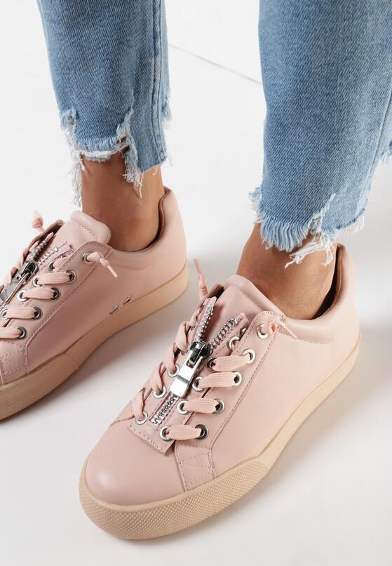 Różowe Buty Sportowe Zip-On