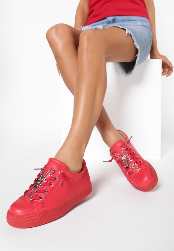 Czerwone Buty Sportowe Zip-On