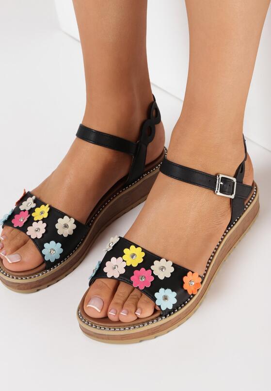 Czarne Sandały Fetch Flower