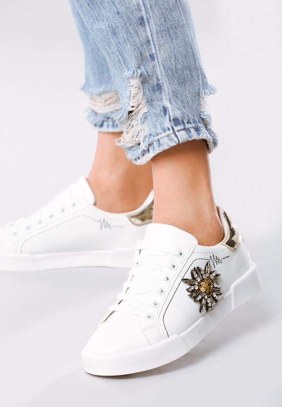 Biało-Złote Buty Sportowe Chambray