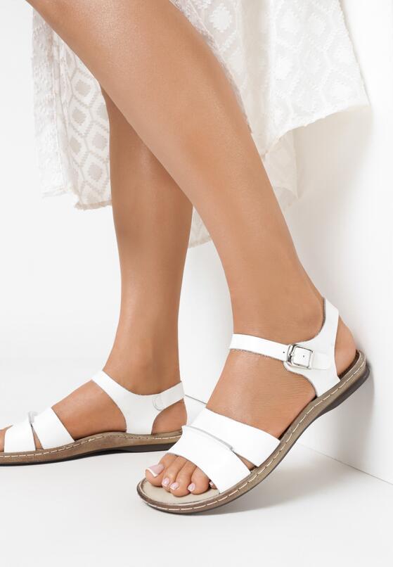 Białe Skórzane Sandały Almond