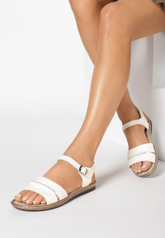 Beżowe Skórzane Sandały Almond