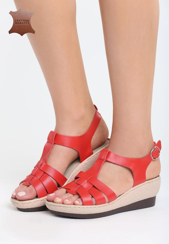 Czerwone Skórzane Sandały Creature Comforts