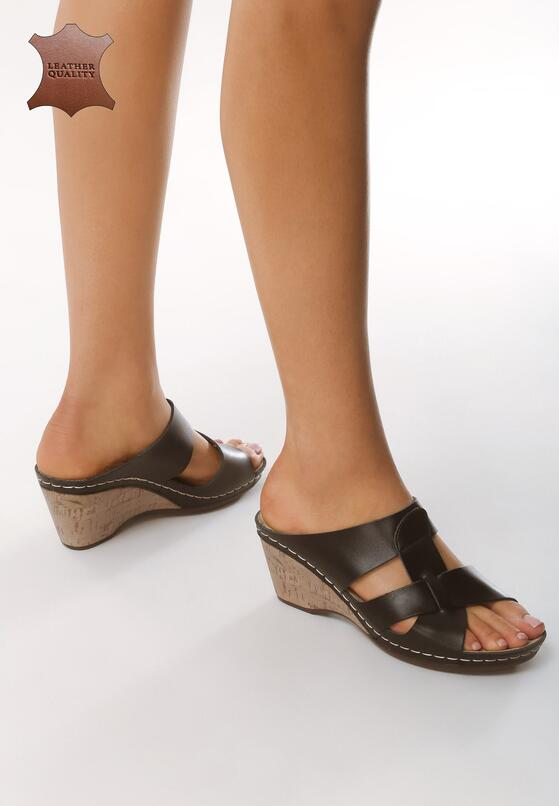 Czarne Skórzane Sandały Beautiful Day
