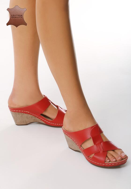 Czerwone Skórzane Sandały Beautiful Day