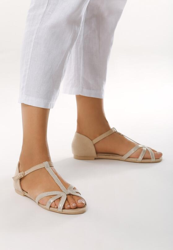 Jasnobeżowe Sandały Fake Love