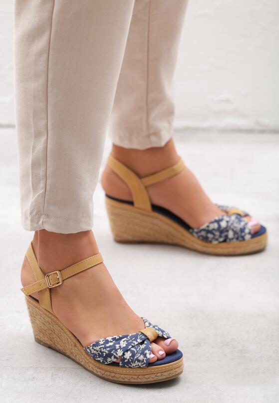 Granatowe Sandały Creme Brulee