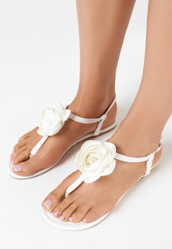 Białe Sandały Shimmer Heart