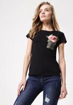 Czarny T-shirt Turnover