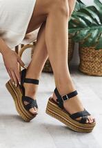 Czarne Sandały Polybromide