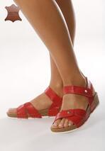 Czerwone Skórzane Sandały Behind The World
