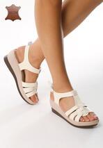 Beżowe Skórzane Sandały Creature Comforts