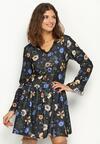 Niebiesko-Czarna Sukienka Sleepy Petal