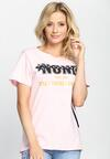 Różowy T-shirt None